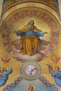 Vienna god the father detail of big fresco from presbytery of carmelites church in dobling by josef austria february kastner Royalty Free Stock Image