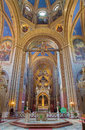 Vienna presbytery and altar of altlerchenfelder church with the lot frescoes sacred in year on july Royalty Free Stock Photography