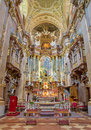 Vienna presbytery and main altar of baroque st peter church or peterskirche by antonio galli da bibiena und martino altomonte Royalty Free Stock Image