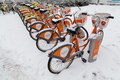 Vienna Public Bikes in the Winter Royalty Free Stock Photo