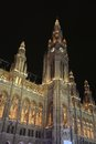 Vienna rathaus at night Stock Photos