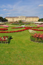 Vienna schönbrunn castle and garden with flowers famous Stock Photo