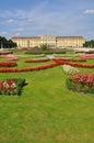 Vienna schönbrunn castle and garden with flowers famous Stock Photo
