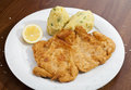 Vienna schnitzel with mashed potatoes and baby onion potato salad Stock Image