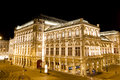 Vienna state opera night view of wiener staatsoper in austria Royalty Free Stock Image