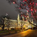 Vienna Town Hall and Christmas Market at night