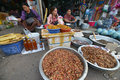 Vientiane laos march unidentified people selling insects and larvae at talat sao on march in Royalty Free Stock Photos