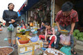 Vientiane laos march unidentified people selling insects and larvae at talat sao on march in Royalty Free Stock Images