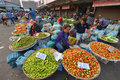 Vientiane laos march unidentified people selling vegetables at talat sao on march in Royalty Free Stock Photography