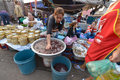Vientiane laos march unidentified people selling vegetables at talat sao on march in Royalty Free Stock Photo