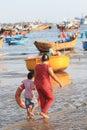 Vietnam fishing village in mui ne at a sunny day Stock Photos
