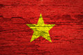 Vietnam flag on wood texture background Royalty Free Stock Photos