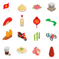 Vietnam icons set, isometric 3d style