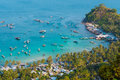 Vietnam Landscape : Aerial view of Fishing boats in Ben Ngu wharf of Nam Du Islands Royalty Free Stock Photo