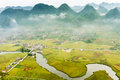 Vietnam landscape rice fields with a river in the valley of tay ethnic minority people bac son lang son viet nam at Stock Photo