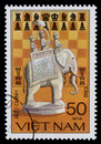 Vietnam postage stamp with chess elephant Royalty Free Stock Photo