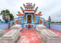 Vietnam quang binh detail of family grave plot and shrine beautiful paintings chinese architecture neat tombs combine for a quiet Stock Image