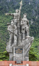 Vietnam quang binh province war memorial to honor female suppor three women are pictured each representing a special task Stock Photo