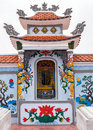 Vietnam quang binh shrine as altar on family grave plot in cemetery colorful paintings and architecture to celebrate ancestor s Royalty Free Stock Photography