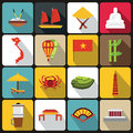 Vietnam travel icons set, flat style Royalty Free Stock Photo