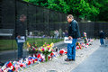Vietnam veterans memorial in washington dc usa d c may people visit and lay flowers at the on may d c Stock Photography