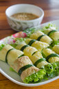 Vietnames cuisine fried egg rolled with fresh vegetable vietnamese food cuon hanh served with chili sauce Royalty Free Stock Photography