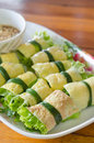 Vietnames food fried egg rolled with fresh vegetable vietnamese cuon hanh Stock Photos
