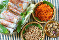 Vietnamese food bo bia is street snack that delicious cholesterol free make from dried small shrimp vegetables sausage peanut Royalty Free Stock Photography
