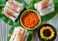 Vietnamese food bo bia is street snack that delicious cholesterol free make from dried small shrimp vegetables sausage peanut Royalty Free Stock Photos