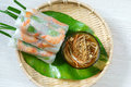 Vietnamese food goi cuon salad roll is street that delicious wrapped from shrimp pork vegetables bun in rice paper with Royalty Free Stock Photography
