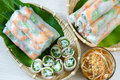 Vietnamese food goi cuon salad roll is street that delicious wrapped from shrimp pork vegetables bun in rice paper with Royalty Free Stock Photo
