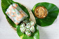 Vietnamese food goi cuon salad roll is street that delicious wrapped from shrimp pork vegetables bun in rice paper with Stock Image