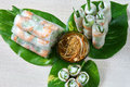Vietnamese food goi cuon salad roll is street that delicious wrapped from shrimp pork vegetables bun in rice paper with Royalty Free Stock Images