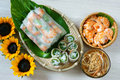 Vietnamese food goi cuon salad roll is street that delicious wrapped from shrimp pork vegetables bun in rice paper with Stock Images