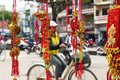 Vietnamese New Year decoration on a blurred background of a street. Royalty Free Stock Photo