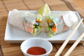 Vietnamese spring rolls with lettuce Royalty Free Stock Photo