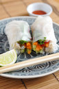 Vietnamese spring rolls with lettuce Stock Photography