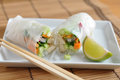 Vietnamese spring rolls with lettuce Royalty Free Stock Photography