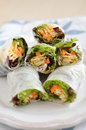 Vietnamese spring rolls with lettuce Stock Photo