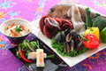 Vietnamese spring vegetables rolls with sea bream, blue mussel,