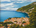 Vietri sul mare oil on canvas of a view of Royalty Free Stock Photos