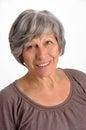 Vieux gray hair woman portrait de sourire Photographie stock libre de droits