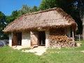 Vieux hen-house en bois de Zukow, Lublin, Pologne Photo stock