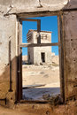 View at the abandoned house in desert shot a ghost town namibia Royalty Free Stock Photography