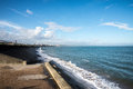 A view of Aberdeen Beach and John Codona`s leisure centre in a distance Royalty Free Stock Photo