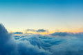 View above the clouds beautiful sunset cloudscape Royalty Free Stock Image