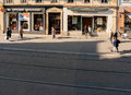 View from above of French street in Strasbourg Royalty Free Stock Photo