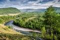 View above oka river, russian nature. Buryatia. Siberia.