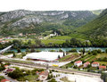 View from above on small town pocitelj bosnia ger medieval valley of the river neretva the first recorded reference to dates Stock Photography