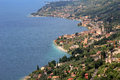 View from above to idyllic coastline of gargnano and garda lake, Royalty Free Stock Photography